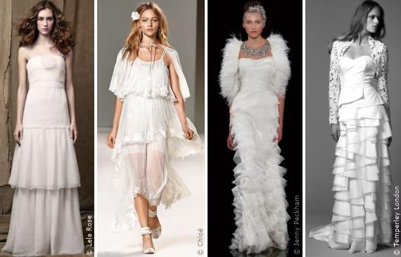 Wahl des Brautkleides: Der Stufenlook, Die Silhouetten, Modetrends ...